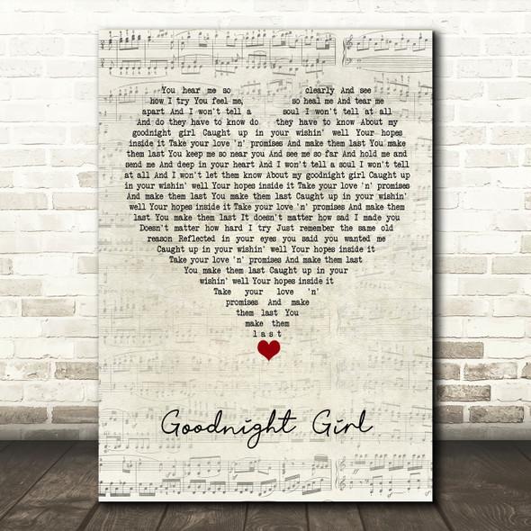 Wet Wet Wet Goodnight Girl Script Heart Song Lyric Quote Music Print