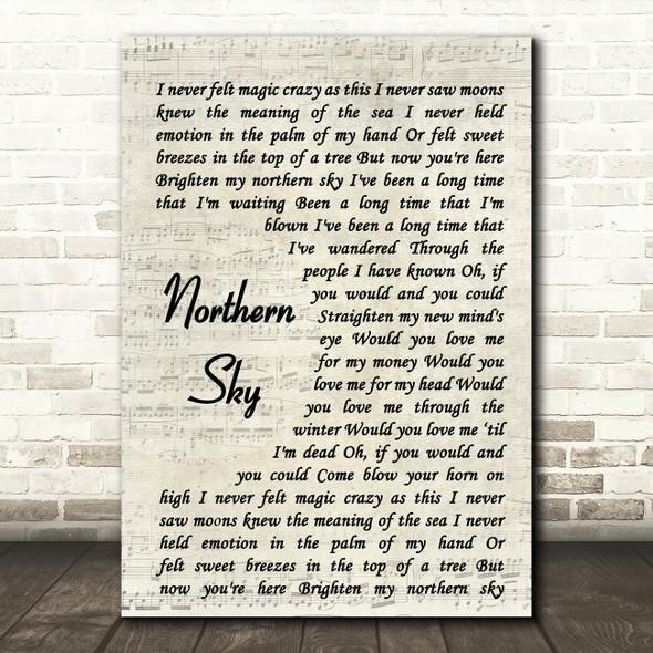 Nick Drake Northern Sky Vintage Script Song Lyric Quote Music Print