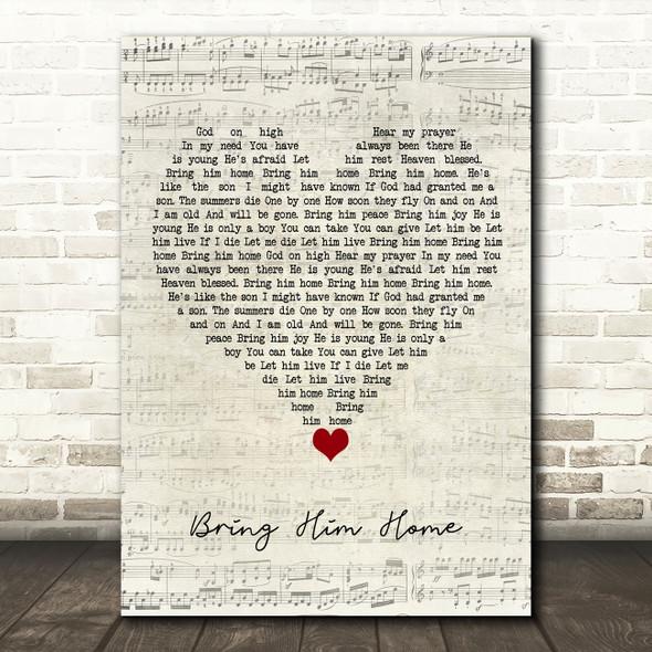 Alfie Boe Bring Him Home Script Heart Song Lyric Quote Music Print