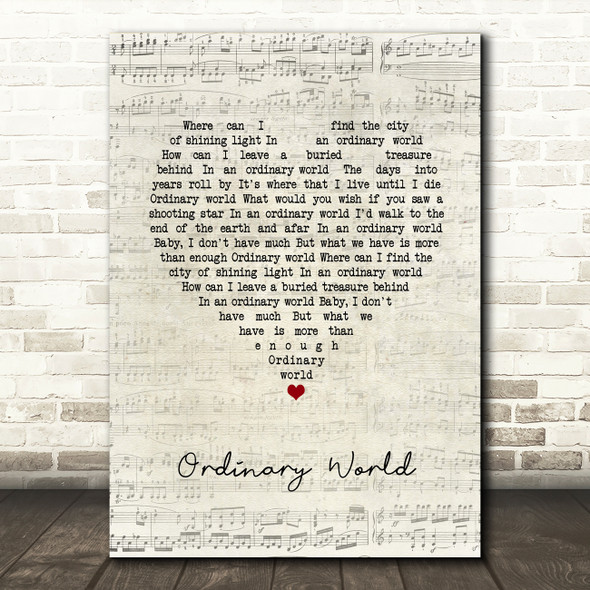 Green Day Ordinary World Script Heart Song Lyric Quote Music Print