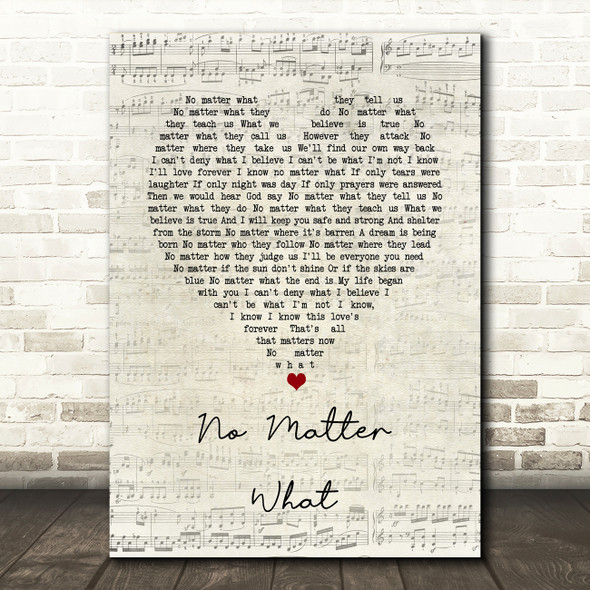 Boyzone No Matter What Script Heart Song Lyric Quote Music Print