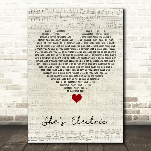 Oasis She's Electric Script Heart Song Lyric Quote Music Print