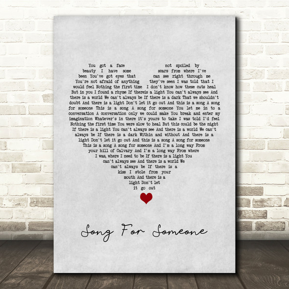 U2 Song For Someone Grey Heart Song Lyric Quote Music Print