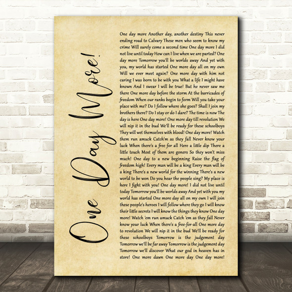 Les Miserables Cast One Day More Rustic Script Song Lyric Quote Music Print