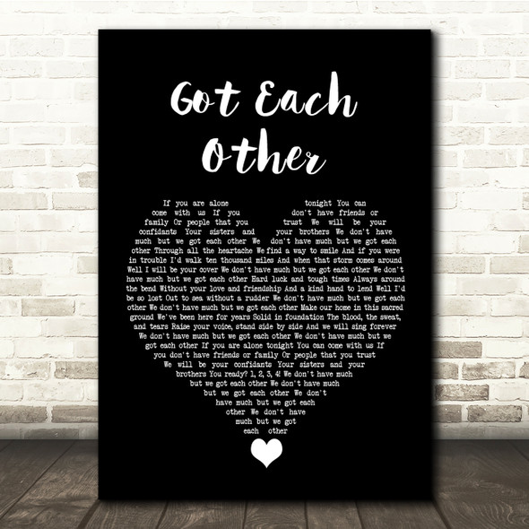 The Interrupters Got Each Other Black Heart Song Lyric Quote Music Print