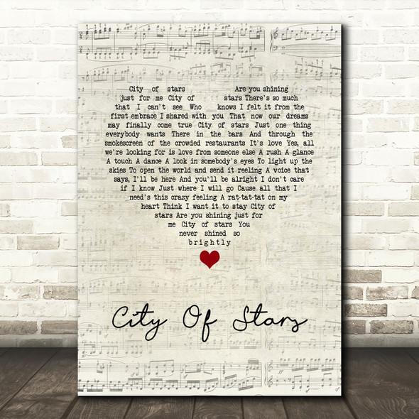 La La Land Cast City Of Stars Script Heart Song Lyric Quote Music Print