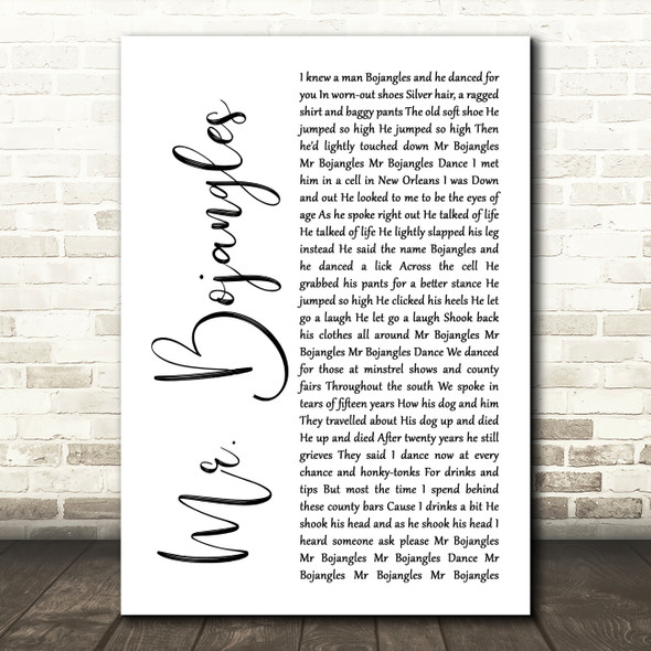 Sammy Davis Jr Mr. Bojangles White Script Song Lyric Quote Music Print