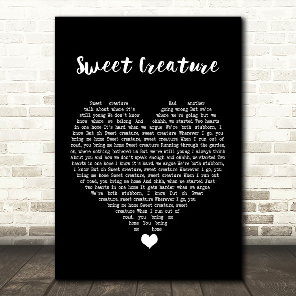 Harry Styles Sweet Creature Black Heart Song Lyric Quote Music Print