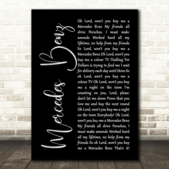 Janis Joplin Mercedes Benz Black Script Song Lyric Quote Music Print