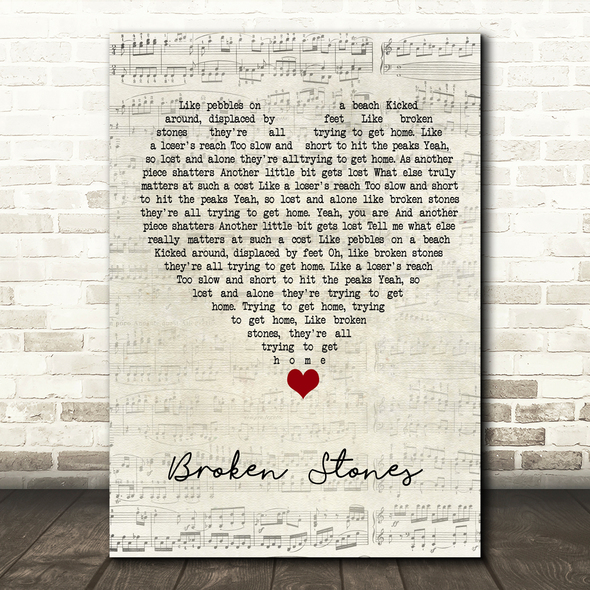 Paul Weller Broken Stones Script Heart Song Lyric Quote Music Print