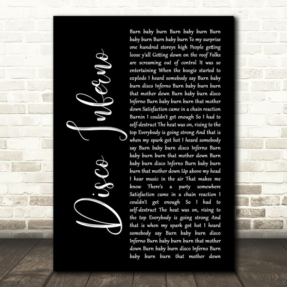 The Trammps Disco Inferno Black Script Song Lyric Quote Music Print