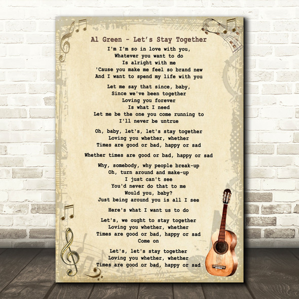 Al Green Let?Æs Stay Together Song Lyric Vintage Quote Print