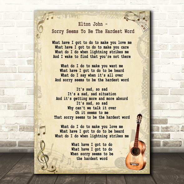 Elton John Sorry Seems To Be The Hardest Word Song Lyric Vintage Quote Print