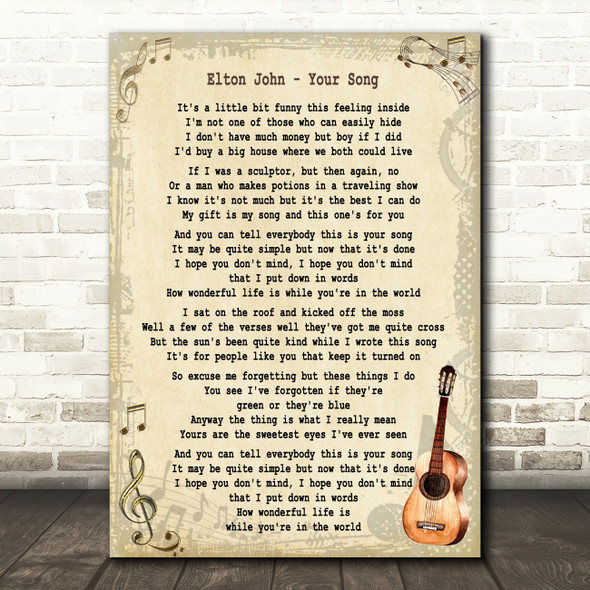 Elton John Your Song Song Lyric Vintage Quote Print