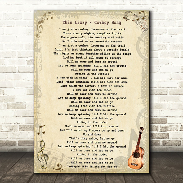 Thin Lizzy Cowboy Song Vintage Guitar Song Lyric Quote Music Print