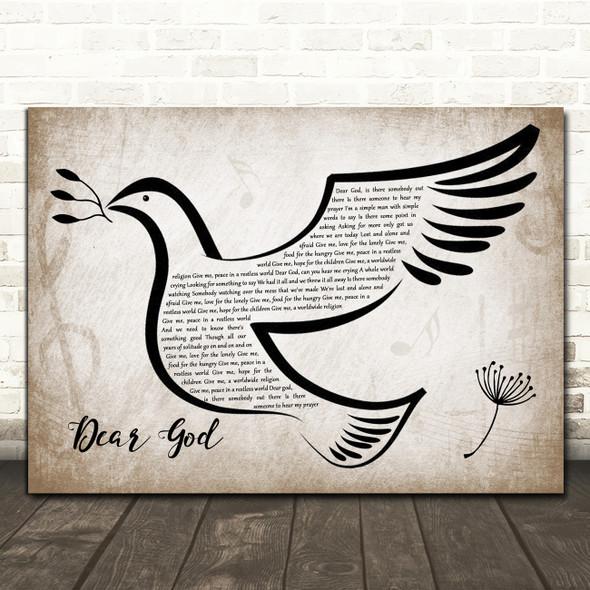 Midge Ure Dear God Vintage Dove Bird Song Lyric Quote Music Print