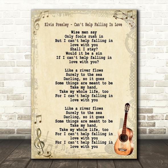 Elvis Presley Can't Help Falling In Love Song Lyric Vintage Quote Print