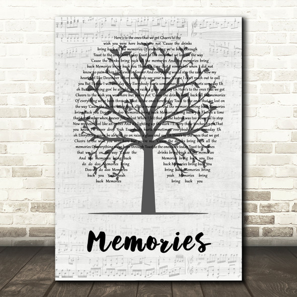 Maroon 5 Memories Music Script Tree Song Lyric Quote Music Print