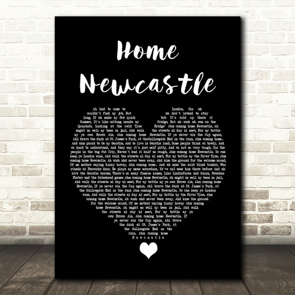 Busker Home Newcastle Black Heart Song Lyric Quote Music Print