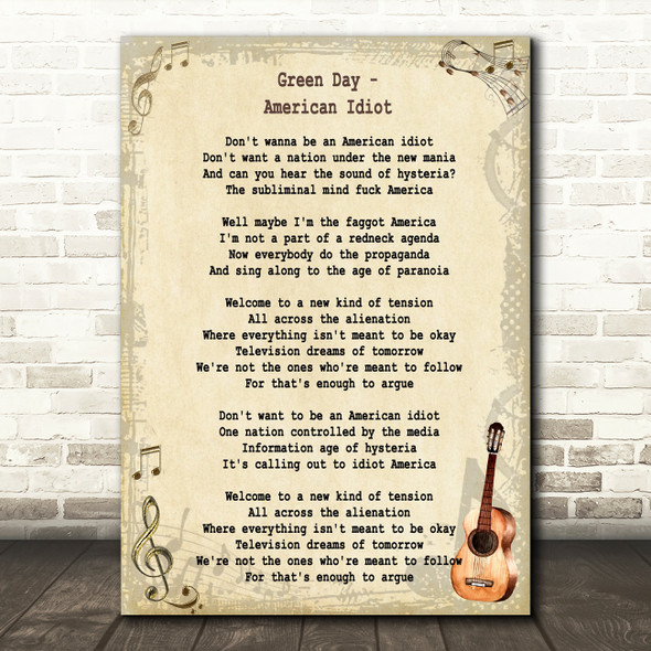Green Day American Idiot Song Lyric Vintage Quote Print