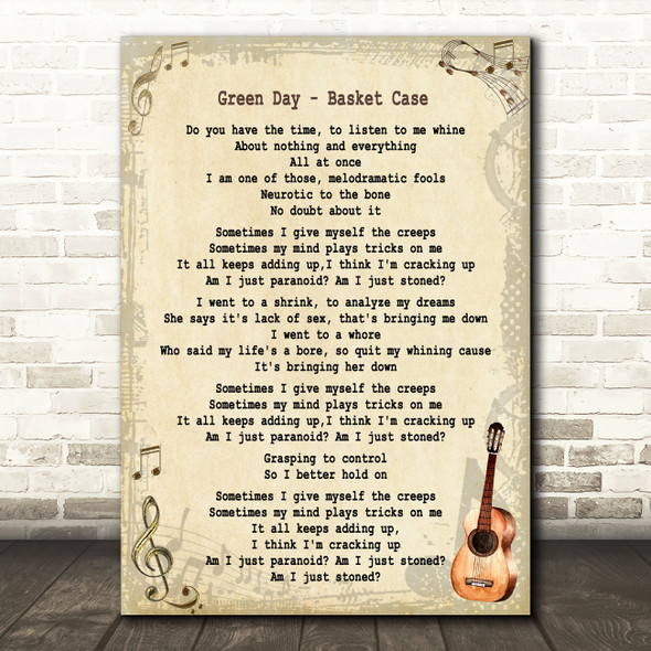 Green Day Basket Case Song Lyric Vintage Quote Print