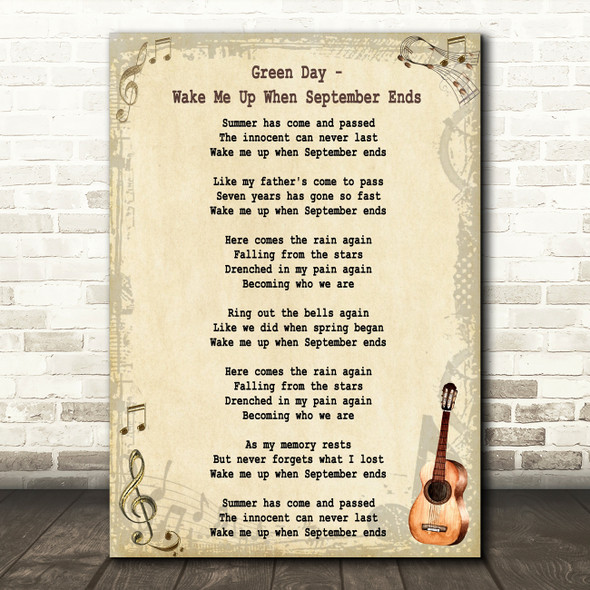 Green Day Wake Me Up When September Ends Song Lyric Vintage Quote Print