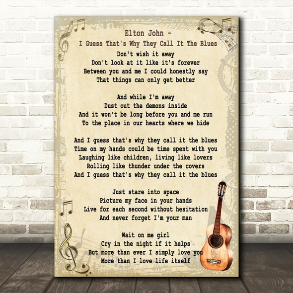 I Guess That's Why They Call It The Blues Song Lyric Vintage Quote Print