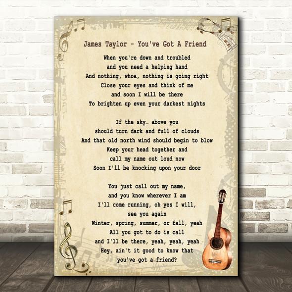 James Taylor You've Got A Friend Song Lyric Vintage Quote Print
