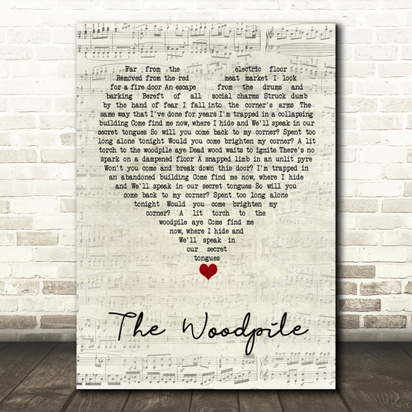 Frightened Rabbit The Woodpile Script Heart Song Lyric Quote Music Print