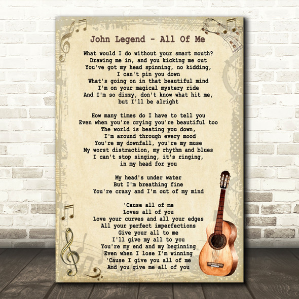 John Legend All Of Me Song Lyric Vintage Quote Print
