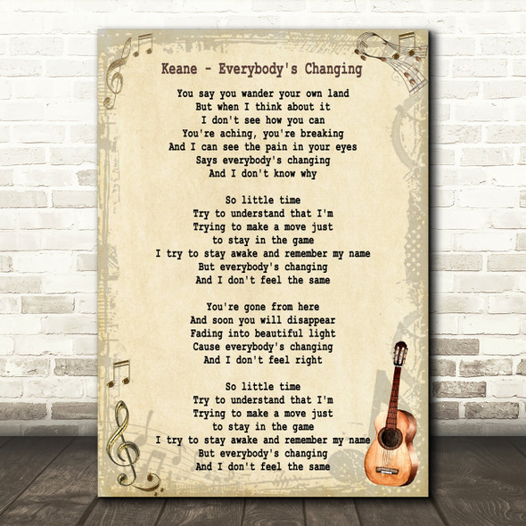 Keane Everybody's Changing Song Lyric Vintage Quote Print