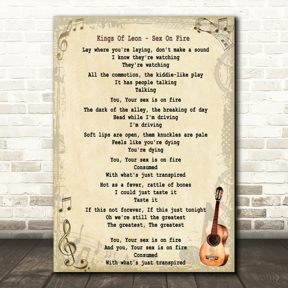 Kings Of Leon Sex On Fire Song Lyric Vintage Quote Print