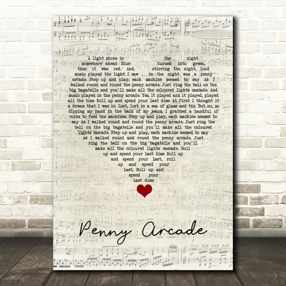 Roy Orbison Penny Arcade Script Heart Song Lyric Quote Music Print