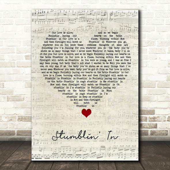 Suzi Quatro Stumblin' In Script Heart Song Lyric Quote Music Print