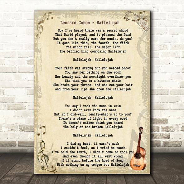 Leonard Cohen Hallelujah Song Lyric Vintage Quote Print