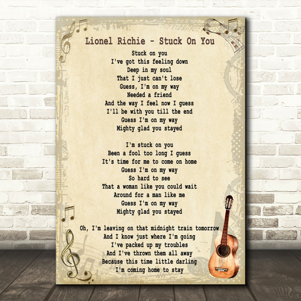 Lionel Richie Stuck On You Song Lyric Vintage Quote Print
