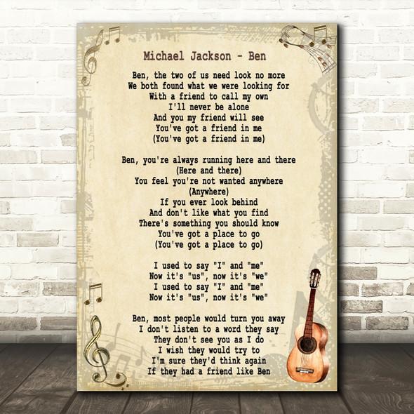 Michael Jackson Ben Song Lyric Vintage Quote Print
