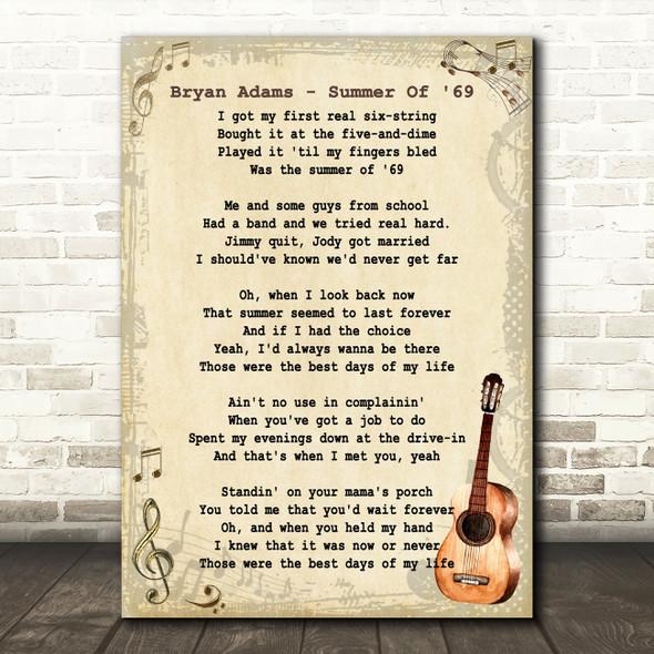 Bryan Adams Summer Of 69 Song Lyric Vintage Quote Print