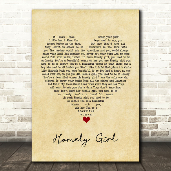 UB40 Homely Girl Vintage Heart Song Lyric Quote Music Print