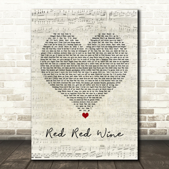 UB40 Red Red Wine Script Heart Song Lyric Quote Music Print