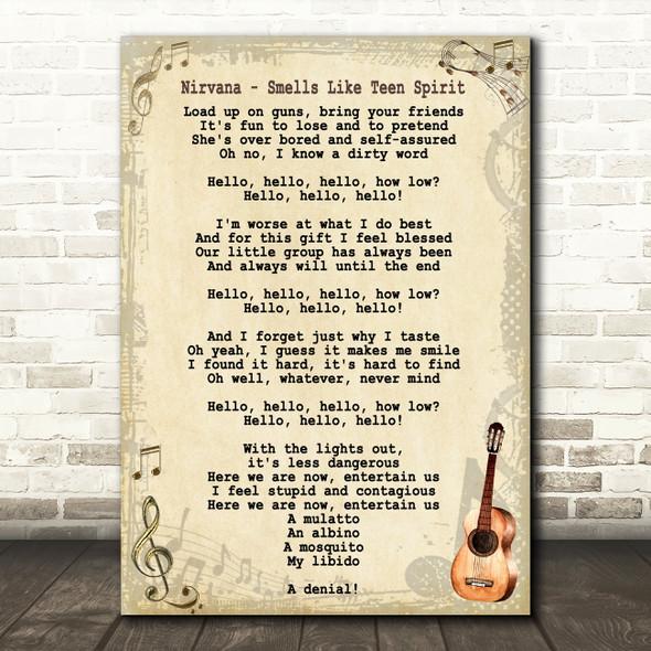 Nirvana Smells Like Teen Spirit Song Lyric Vintage Quote Print
