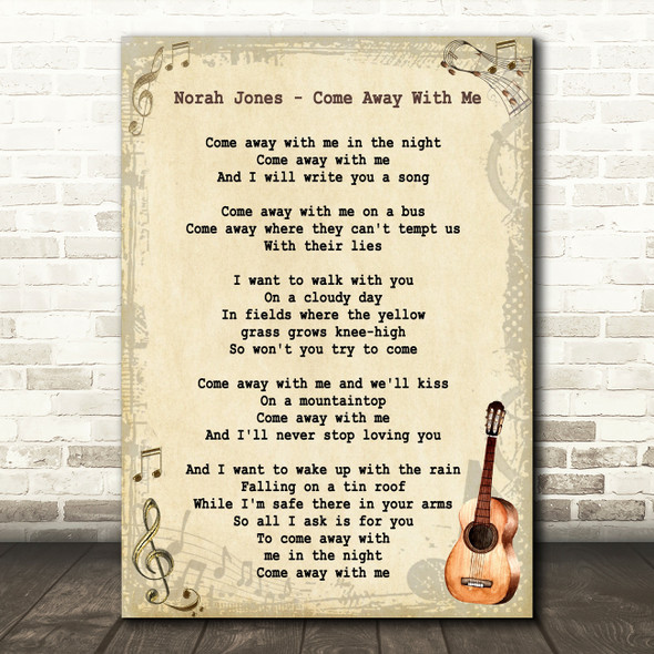 Norah Jones Come Away With Me Song Lyric Vintage Quote Print