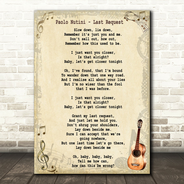 Paolo Nutini Last Request Song Lyric Vintage Quote Print