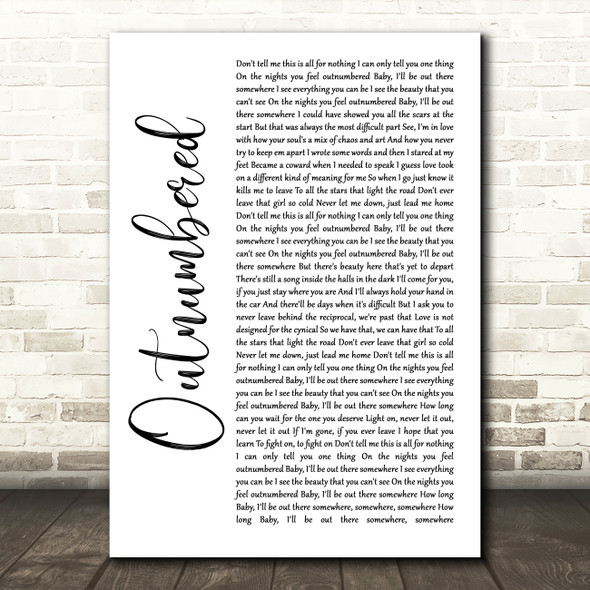 Dermot Kennedy Outnumbered White Script Song Lyric Quote Music Print