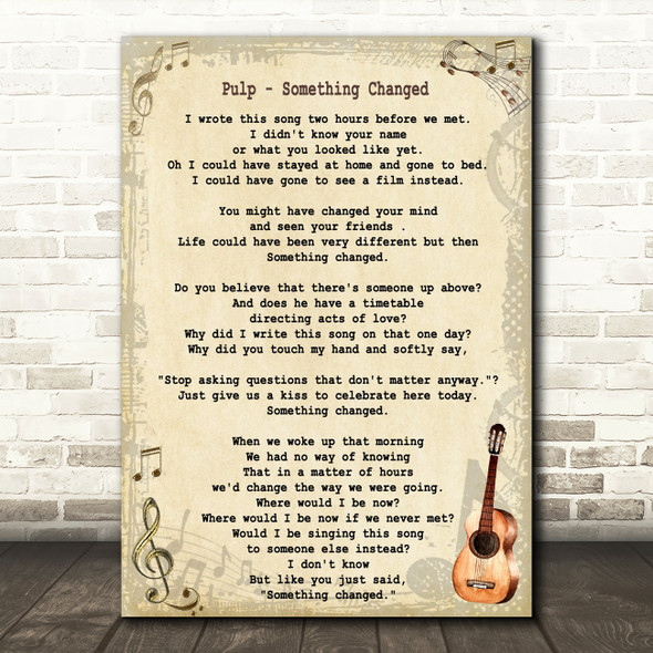 Pulp Something Changed Song Lyric Vintage Quote Print