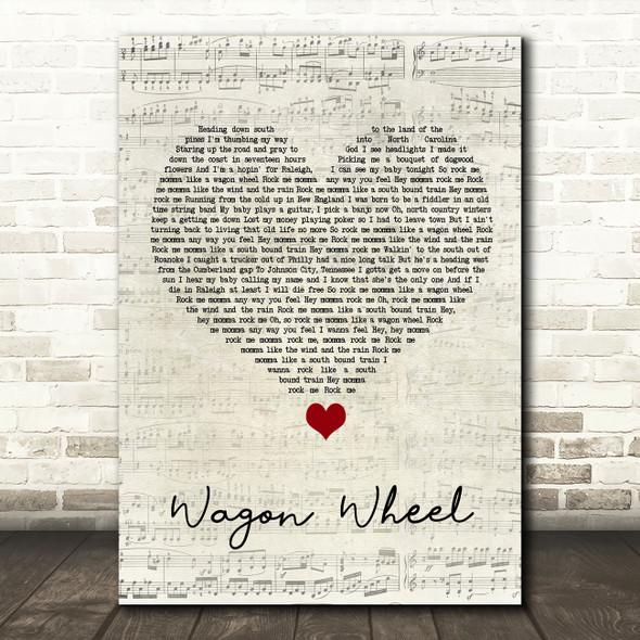 Darius Rucker Wagon Wheel Script Heart Song Lyric Quote Music Print