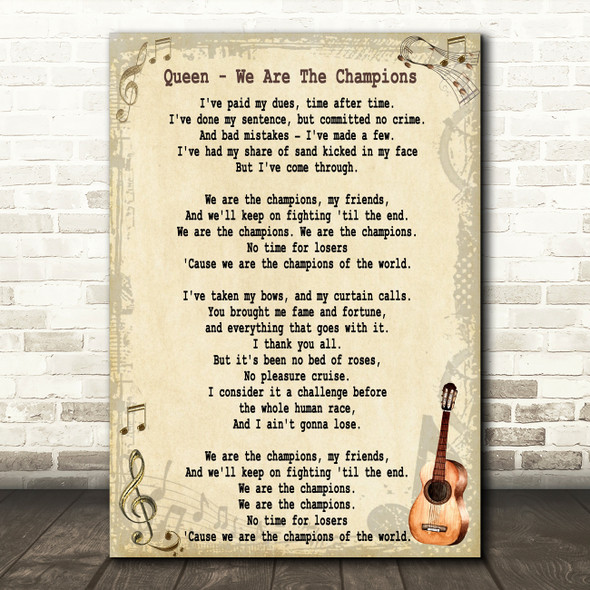 Queen We Are The Champions Song Lyric Vintage Quote Print