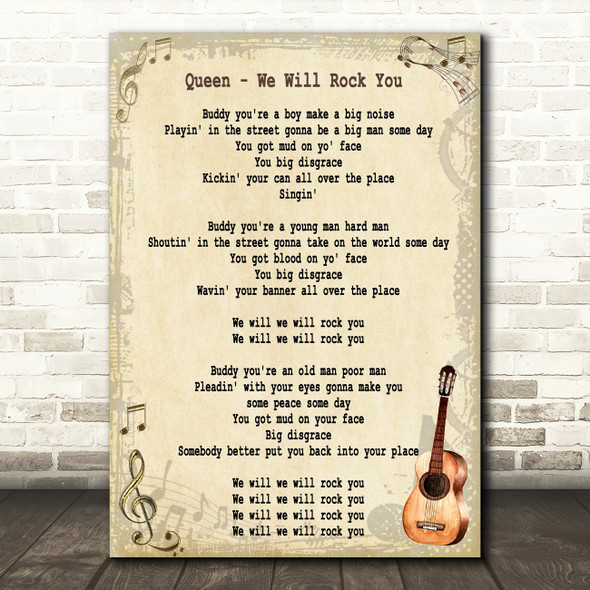 Queen We Will Rock You Song Lyric Vintage Quote Print