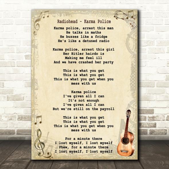 Radiohead Karma Police Song Lyric Vintage Quote Print