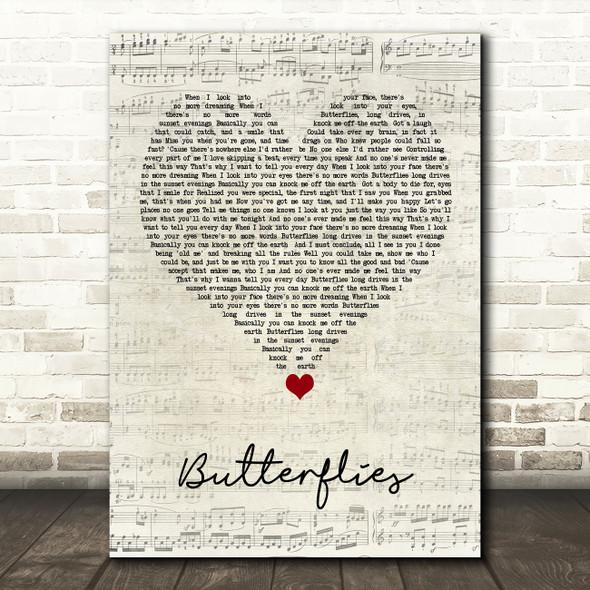 Lucy Spraggan Butterflies Script Heart Song Lyric Quote Music Print